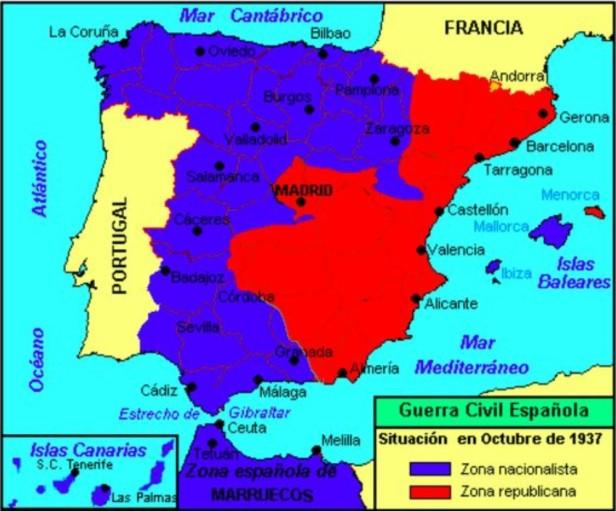 Guerra Civil Espanhola - Mapa 1937